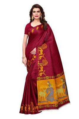 Maroon printed art cotton silk saree with blouse
