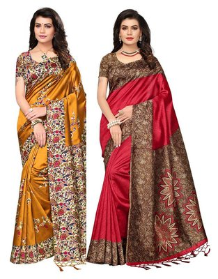 Multicolor printed art silk saree with blouse pack of-2 saree