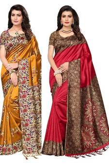 09dcbaec8b0 Multicolor printed art silk saree with blouse pack of-2 saree. Shop Now