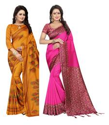 c71757c3ab0e7 27% OFF Buy Multicolour printed art silk saree with blouse pack of -2 saree  art-silk