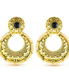 Gold finish delightly design stone and pearl dangle earrings
