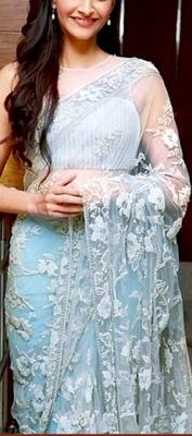 Indian Replica Ethnic Sonam White Net Fabric