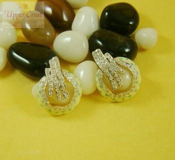 Polka Dots Zircone Enamel  Studs Earrings