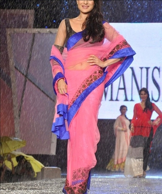 Indian Replica Ethnic Amisha Pink Net Saree
