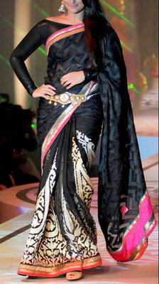 Indian Ethnic Replica Bollywood Sonakshi Black Georgette Saree