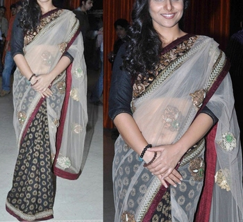 Indian Replica Ethnic Vidya Multi Color Tissue And Viscose Fabric Saree
