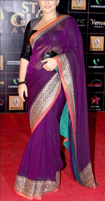 Indian Replica Ethnic Vidya Purple Net Saree
