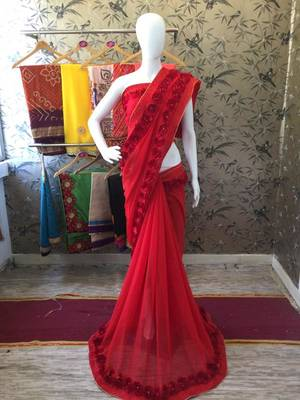 Blood Red Woven Georgette Saree With Blouse