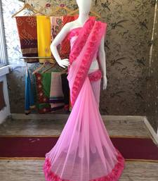 Buy Baby pink woven georgette saree with blouse party-wear-saree online