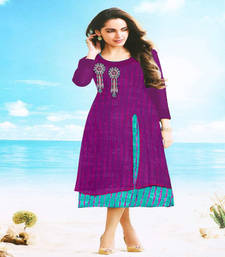 Buy Purple embroidered georgette kurtis kurtas-and-kurti online