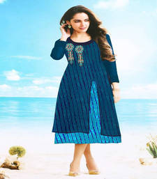 Buy Blue embroidered georgette kurtis kurtas-and-kurti online