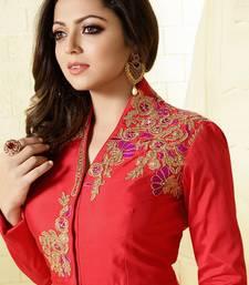 Buy Peach embroidery taffeta silk salwar with dupatta Woman online