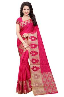 Pink plain cotton saree with blouse 381ca4c3e