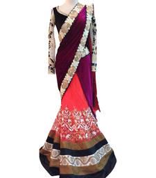 Buy Purple embroidered velvet saree with blouse velvet-saree online