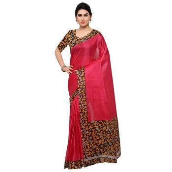 Pink Plain Semi Tussar Silk Saree With Blouse