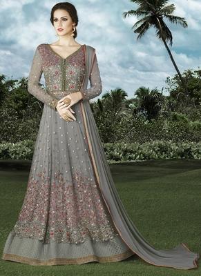 Grey embroidered net Anarkali Suit