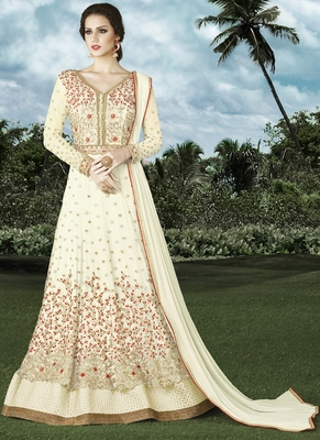 Off white embroidered net Anarkali Suit