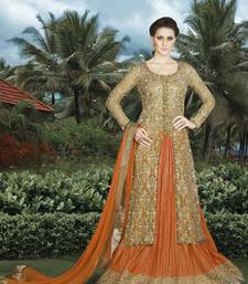 Buy Beige embroidered net salwar with dupatta sharara online