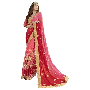 Peach plain georgette saree with blouse
