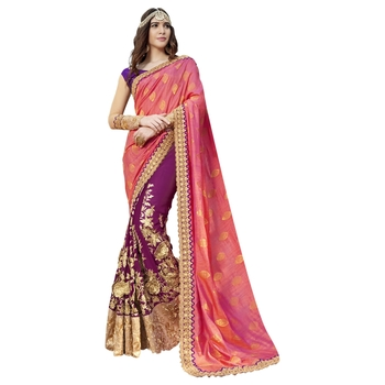 Violet plain georgette saree with blouse