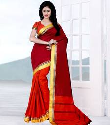 Buy Red woven tussar silk,cotton linen blend saree with blouse tussar-silk-saree online