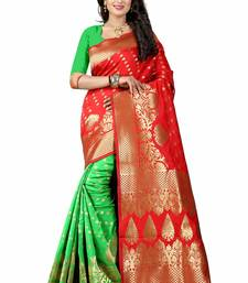 Buy Red hand woven art silk saree with blouse bridal-saree online