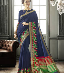 Buy Blue woven silk saree with blouse art-silk-saree online