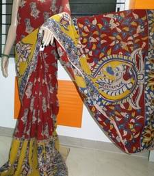 Buy maroon printed cotton saree with blouse kalamkari-saree online