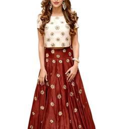 Buy Maroon embroidered silk unstitched lehenga with dupatta lehenga-choli online