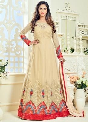Cream Multi Resham Work Net Salwar With Dupatta