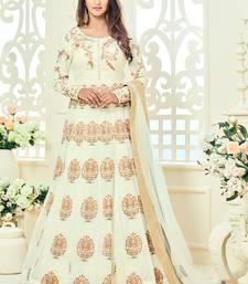 Off White Multi Resham Work Georgette Salwar With Dupatta
