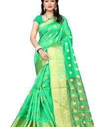 Buy Sea green printed cotton saree with blouse diwali-sarees-collection online
