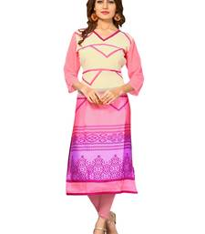 Light pink printed crepe kurti