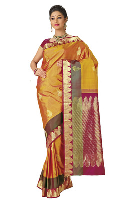 f8b655ecd9 Kanchipuram Sarees Orangish yellow handloom silk saree in wine zari weaved  pallu - mirraw test - 266783