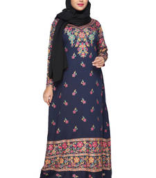 Buy Navy Blue American Crepe Printed Long Kaftan  with Long Sleeves kaftan online