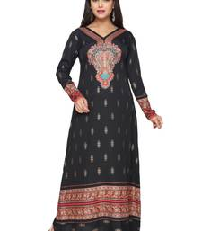 Buy Black American Crepe Printed Long Kaftan  with Long Sleeves kaftan online