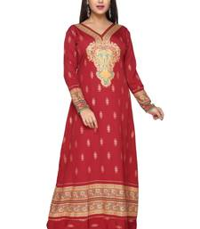 Buy Maroon American Crepe Printed Long Kaftan  with Long Sleeves kaftan online