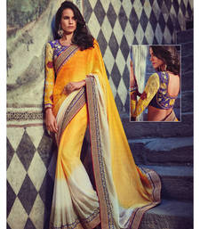 Buy Yellow embroidered crepe saree with blouse designer-embroidered-saree online