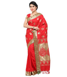 Buy Red woven art silk saree with blouse reception-ceremony-dress online