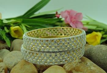 Geometric patterned stones adorned bangles