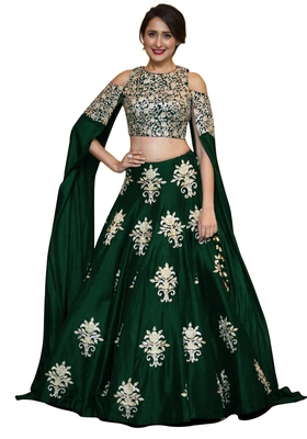 fc2308d1d1 Green raw silk embroidered semi stitched lehenga choli material - Rozy  Fashion - 2014920