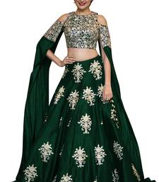 Buy Green raw silk embroidered semi stitched lehenga choli lehenga-choli online