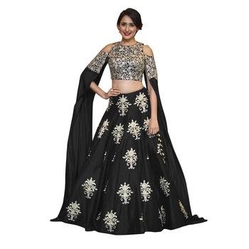 da7ba5f4ae Rozy Fashion Black art silk embroidered semi stitched lehenga choli  material - Rozy Fashion - 2014921