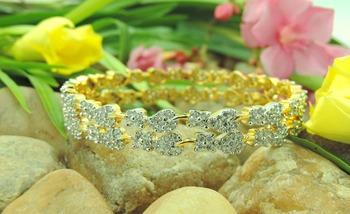 Silver flower&Leaf Bracelet Bangles