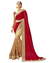 Buy Beige embroidered faux georgette saree with blouse net-saree online
