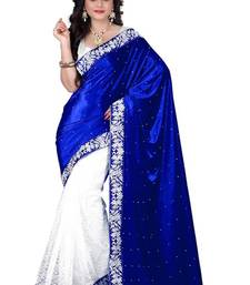 Buy Blue embroidered velvet saree with blouse ethnic-saree online