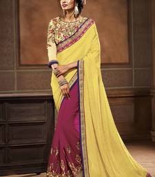 Buy Yellow embroidered georgette saree with blouse wedding-saree online