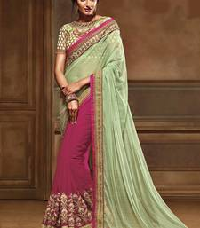 Buy Light green embroidered georgette saree with blouse wedding-saree online