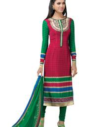 Buy Pink  faux crepe salwar with dupatta semi-stitched-salwar-suit online