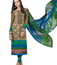 Buy Brown  faux crepe salwar semi-stitched-salwar-suit online